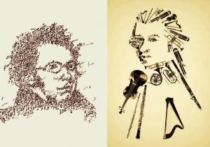 Schubert e Mozart estilizados sépia